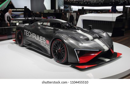 Switzerland; Geneva; March 8, 2018; The Techrules REN RS; The 88th International Motor Show in Geneva from 8th to 18th of March, 2018.
