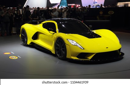 Switzerland; Geneva; March 8, 2018; Hennessey Venom F5 front from the right; The 88th International Motor Show in Geneva from 8th to 18th of March, 2018.
