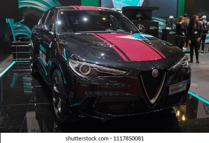 Switzerland; Geneva; March 8, 2018; The black Alfa Romeo Stelvio front side; The 88th International Motor Show in Geneva from 8th to 18th of March, 2018.