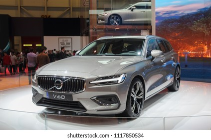 Switzerland; Geneva; March 8, 2018; The Volvo V 60; The 88th International Motor Show in Geneva from 8th to 18th of March, 2018.