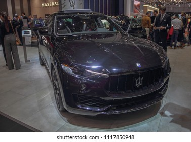 Switzerland; Geneva; March 8, 2018; The Maserati Levante SUV; The 88th International Motor Show in Geneva from 8th to 18th of March, 2018.