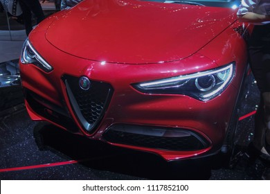 Switzerland; Geneva; March 8, 2018; The Alfa Romeo Stelvio front side; The 88th International Motor Show in Geneva from 8th to 18th of March, 2018.