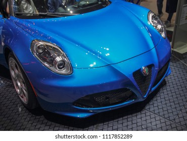 Switzerland; Geneva; March 8, 2018; The Alfa Romeo 4C Spider front; The 88th International Motor Show in Geneva from 8th to 18th of March, 2018.