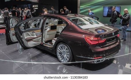 Switzerland; Geneva; March 8, 2018; The BMW 7 Series Swan rear side from the left, The World Premiere; the 88th International Motor Show in Geneva from 8th to 18th of March, 2018.