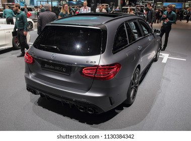 Switzerland; Geneva; March 8, 2018; Mercedes-Benz AMG C 43 rear side; The 88th International Motor Show in Geneva from 8th to 18th of March, 2018.