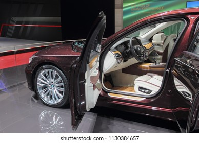 Switzerland; Geneva; March 8, 2018; The BMW 7 Series Swan front interior, The World Premiere; the 88th International Motor Show in Geneva from 8th to 18th of March, 2018.