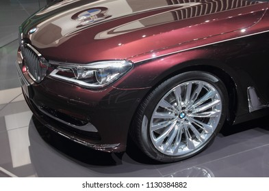 Switzerland; Geneva; March 8, 2018; The BMW 7 Series Swan front, The World Premiere; the 88th International Motor Show in Geneva from 8th to 18th of March, 2018.
