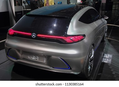Switzerland; Geneva; March 8, 2018; Mercedes-Benz EQA rear side; The 88th International Motor Show in Geneva from 8th to 18th of March, 2018.