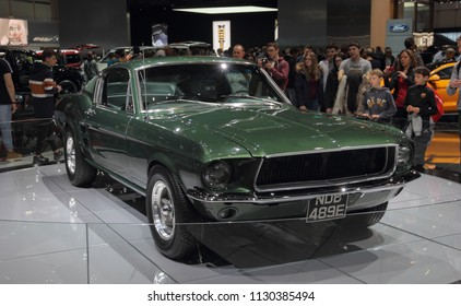 Switzerland; Geneva; March 8, 2018; The close up front view of Ford Mustang 1968; The 88th International Motor Show in Geneva from 8th to 18th of March, 2018.