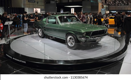 Switzerland; Geneva; March 8, 2018; Ford Mustang 1968 front from the right side; The 88th International Motor Show in Geneva from 8th to 18th of March, 2018.