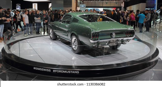 Switzerland; Geneva; March 8, 2018; Ford Mustang 1968 rear side; The 88th International Motor Show in Geneva from 8th to 18th of March, 2018.