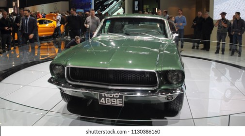 Switzerland; Geneva; March 8, 2018; Ford Mustang 1968 front; The 88th International Motor Show in Geneva from 8th to 18th of March, 2018.