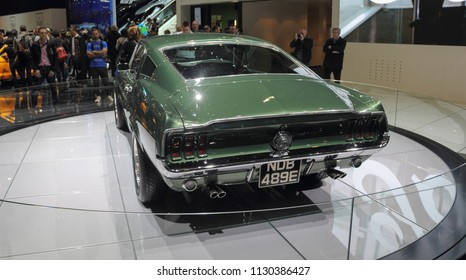 Switzerland; Geneva; March 8, 2018; The close up view of Ford Mustang 1968 rear side; The 88th International Motor Show in Geneva from 8th to 18th of March, 2018.