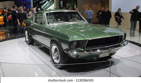 Switzerland; Geneva; March 8, 2018; Ford Mustang 1968 front from the right; The 88th International Motor Show in Geneva from 8th to 18th of March, 2018.