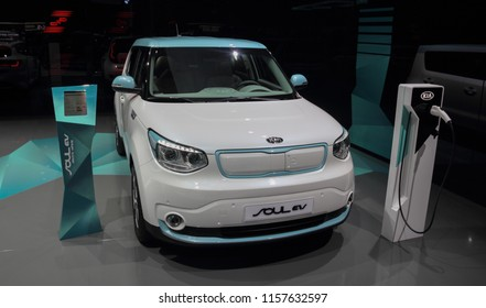 Switzerland; Geneva; March 8, 2018; The KIA Soul EV; the 88th International Motor Show in Geneva from 8th to 18th of March, 2018.