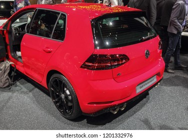 Switzerland; Geneva; March 8, 2018; The Volkswagen Golf R Performance, rear side; The 88th International Motor Show in Geneva from 8th to 18th of March, 2018.