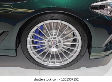 Switzerland; Geneva; March 8, 2018; Close up of front right wheel of the BMW Alpina D5 S Saloon AWD; the 88th International Motor Show in Geneva from 8th to 18th of March, 2018.