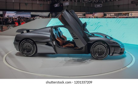 Switzerland; Geneva; March 8, 2018; Profile side of Rimac Concept 2; the 88th International Motor Show in Geneva from 8th to 18th of March, 2018.