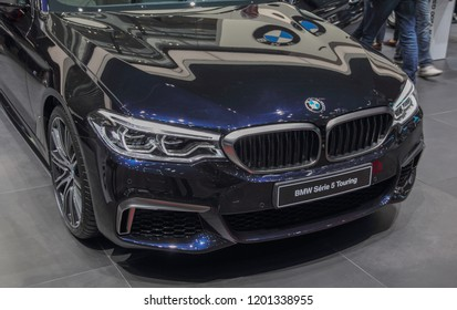 Switzerland; Geneva; March 8, 2018; The BMW Series 5 Touring, front from the right; The 88th International Motor Show in Geneva from 8th to 18th of March, 2018.
