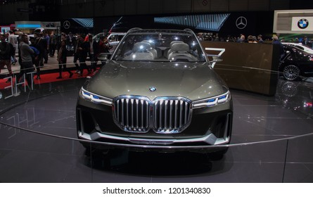 Switzerland; Geneva; March 8, 2018; The World Premiere of BMW X7 concept iPerformance; The 88th International Motor Show in Geneva from 8th to 18th of March, 2018.