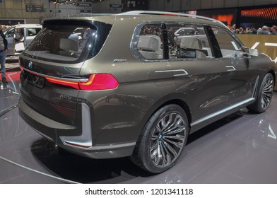 Switzerland; Geneva; March 8, 2018; The World Premiere of BMW X7 concept iPerformance, rear side from the right; The 88th International Motor Show in Geneva from 8th to 18th of March, 2018.