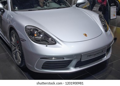 Switzerland; Geneva; March 8, 2018; The Porsche 118 Cayman S; The 88th International Motor Show in Geneva from 8th to 18th of March, 2018.