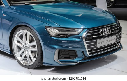 Switzerland; Geneva; March 8, 2018; Audi A6 50 TDI quattro front, from the right; The 88th International Motor Show in Geneva from 8th to 18th of March, 2018.