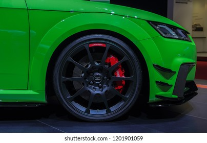 Switzerland; Geneva; March 8, 2018; The Audi TT RS front right wheel; The 88th International Motor Show in Geneva from 8th to 18th of March, 2018.