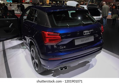 Switzerland; Geneva; March 8, 2018; The Audi Q2 1.4 T rear side; The 88th International Motor Show in Geneva from 8th to 18th of March, 2018.
