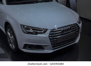 Switzerland; Geneva; March 8, 2018; The Audi A4 g-tron, front; The 88th International Motor Show in Geneva from 8th to 18th of March, 2018.