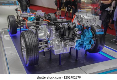 Switzerland; Geneva; March 8, 2018; The Mitsubishi Outlander Phev, chassies; The 88th International Motor Show in Geneva from 8th to 18th of March, 2018.