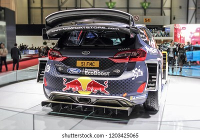 Switzerland; Geneva; March 8, 2018; Ford Fiesta RS WRC, rear side; The 88th International Motor Show in Geneva from 8th to 18th of March, 2018.