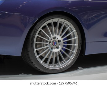 Switzerland; Geneva; March 8, 2018; Rear side of BMW Alpina B4 S Bi-Turbo Convertible rear back wheel; the 88th International Motor Show in Geneva from 8th to 18th of March, 2018.