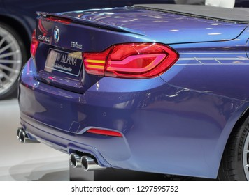 Switzerland; Geneva; March 8, 2018; Rear side of BMW Alpina B4 S Bi-Turbo Convertible rear side; the 88th International Motor Show in Geneva from 8th to 18th of March, 2018.