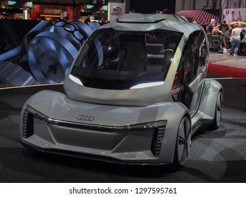 Switzerland; Geneva; March 8, 2018; The Audi Pop. up Next car; The 88th International Motor Show in Geneva from 8th to 18th of March, 2018.
