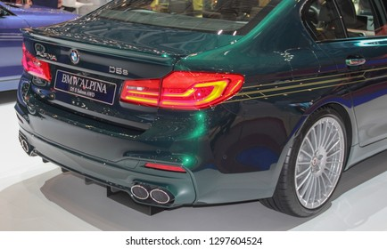 Switzerland; Geneva; March 8, 2018; The BMW Alpina D5 S Saloon AWD - rear side; the 88th International Motor Show in Geneva from 8th to 18th of March, 2018.