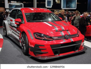 Switzerland; Geneva; March 8, 2018; The Volkswagen Golf GTI TCR; The 88th International Motor Show in Geneva from 8th to 18th of March, 2018.