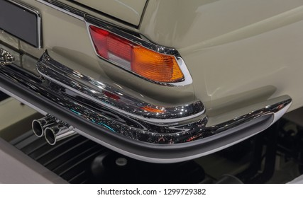 Switzerland; Geneva; March 8, 2018; A macro close up view of Mercedes-Benz 280 SE Cabriolet rear bumper; the 88th International Motor Show in Geneva from 8th to 18th of March, 2018.