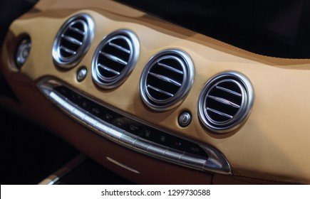 Switzerland; Geneva; March 8, 2018; A macro close up view of Mercedes-Benz air vents on the dashboard; the 88th International Motor Show in Geneva from 8th to 18th of March, 2018.