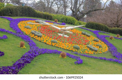 Switzerland; Geneva; March 9, 2018; The flower clock in Jardin Anglais park in Geneva; It is one of the most know sightseeings in Geneva.