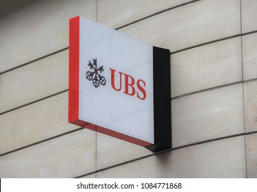 Switzerland; Geneva; March 9, 2018; UBS sign board; UBS is multinational investment bank and financial services company based in Basel