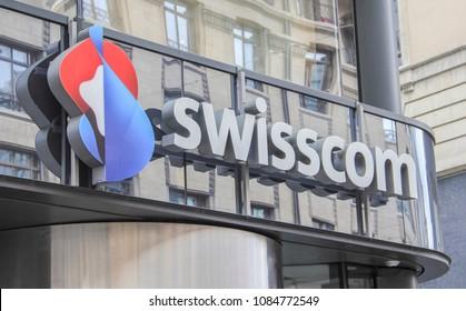 Switzerland; Geneva; March 9, 2018; Swisscom sign board; Swisscom is major telecommunication provider in Switzerland based in Worblaufen