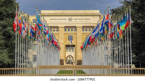 Switzerland; Geneva; March 9, 2018; The rows of the United Nations member states flags in front of the United Nations Office in Geneva;