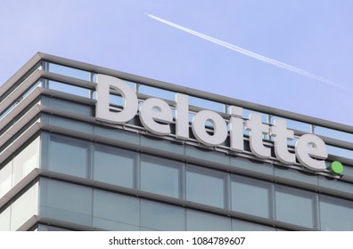 Switzerland; Geneva; March 9, 2018; Deloitte roof sign board; Deloitte is multinational accounting firm and financial advisor. It was founded in London in 1845