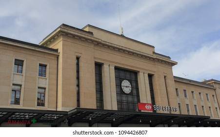 Switzerland; Geneva; March 9, 2018; The Gare Cornavin - Building of the main railway station in Geneva.