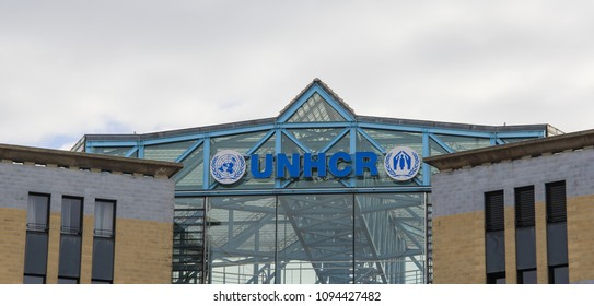 Switzerland; Geneva; March 9, 2018; Office of United Nations High Commissioner for Refugees, UNHCR 3D sign board.