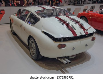 Switzerland; Geneva; March 9, 2019; Fiat Abarth Simca 1300, rear side; The 89th International Motor Show in Geneva from 7th to 17th of March, 2019.
