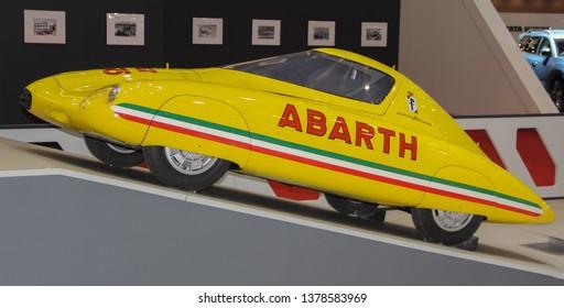 Switzerland; Geneva; March 9, 2019; Fiat Abarth 500 Pininfarina Record, profile; The 89th International Motor Show in Geneva from 7th to 17th of March, 2019.