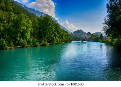Switzerland, Interlaken, Aare river.