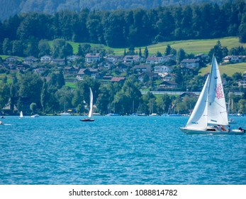 Switzerland, Interlaken, August 16,2009: A yacht speeds across the lake in Interlaken